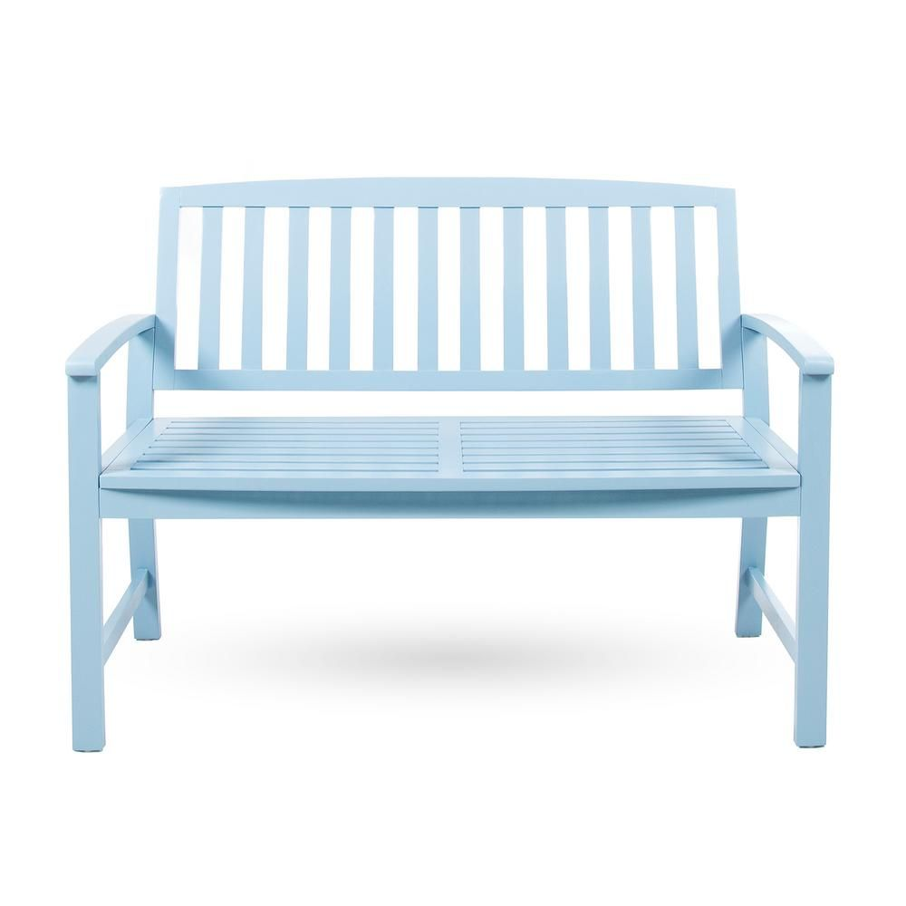 Enjoyable Noble House Loja 2 Person Light Blue Wood Outdoor Bench Cjindustries Chair Design For Home Cjindustriesco
