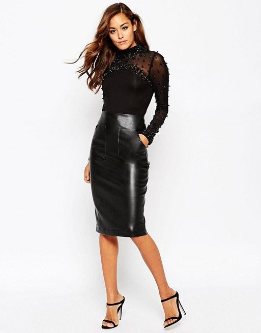 7ddb637b39 ASOS | ASOS PU Pencil Skirt with Pocket Detail | Leather/ latex ...