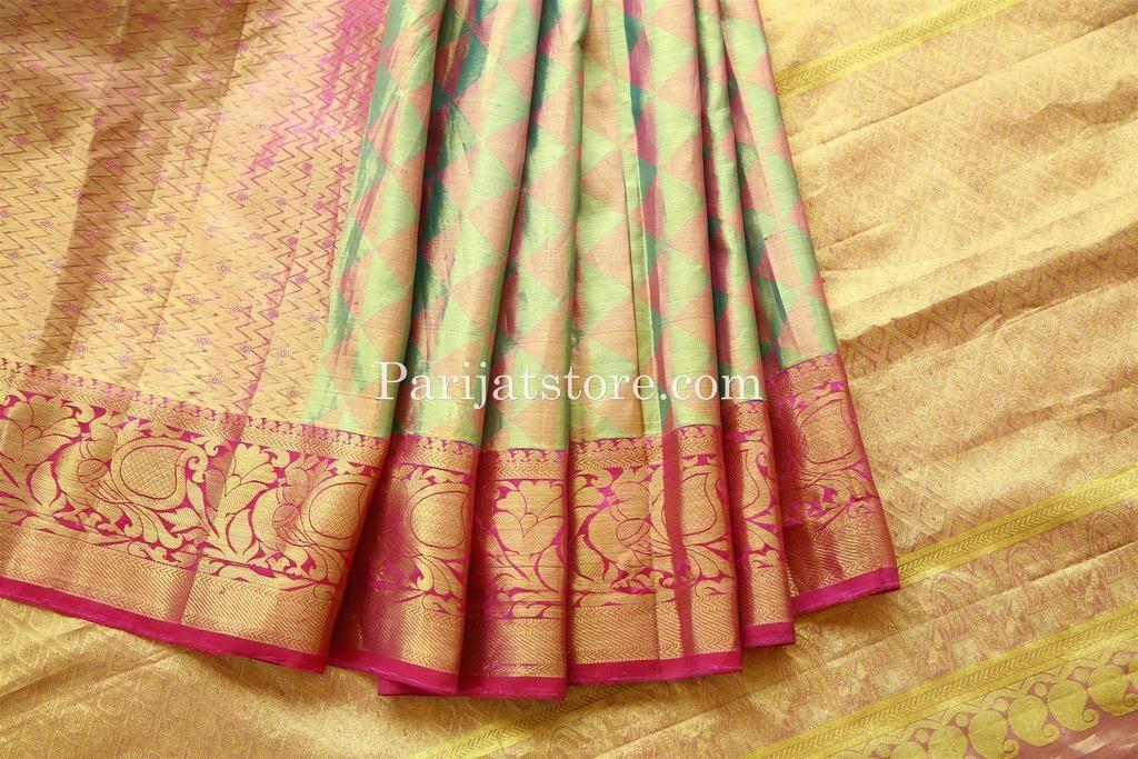 370530bc69 Light green /Pink Full Tissue Zari Silk Saree with Grand Rich Pallu & Pink  Border