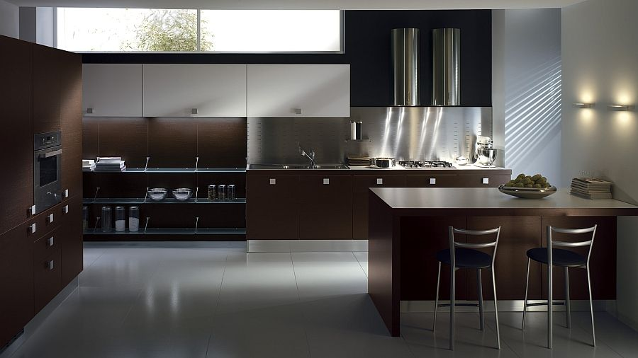 Dark Wood Modern Kitchen Cabinets sleek modern kitchen looks like a posh contemporary office
