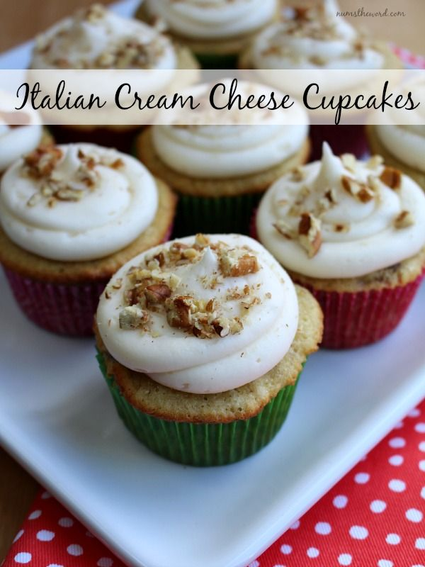 Italian Cream Cheese Cupcakes - moist cupcakes flavored with coconut and pecans then topped with cream cheese frosting. So yummy and pretty too!