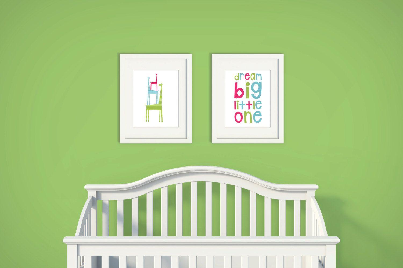 Dream big little one gl giraffe set of nursery art