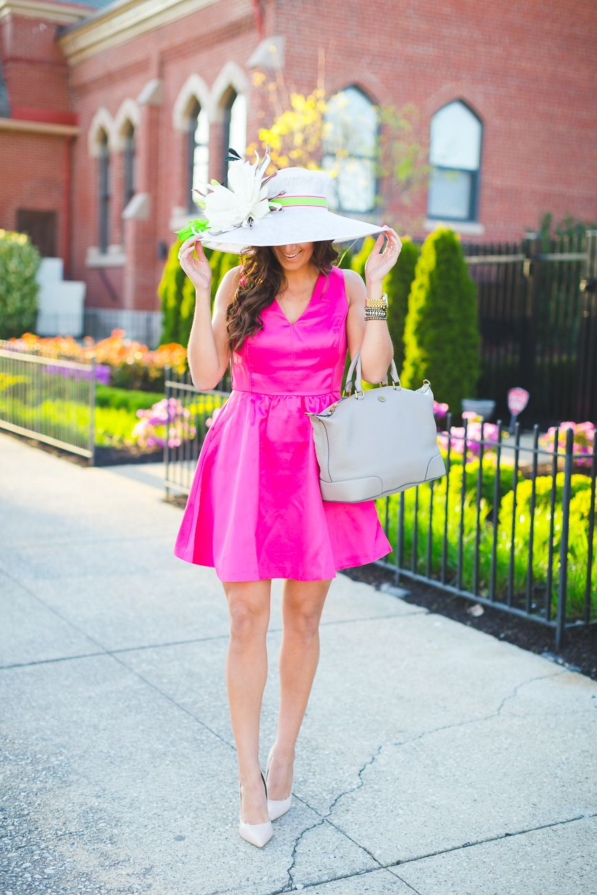 338f59f85b9ab Pink Fit and Flare Dress | A Southern Drawl | Kentucky derby dress ...