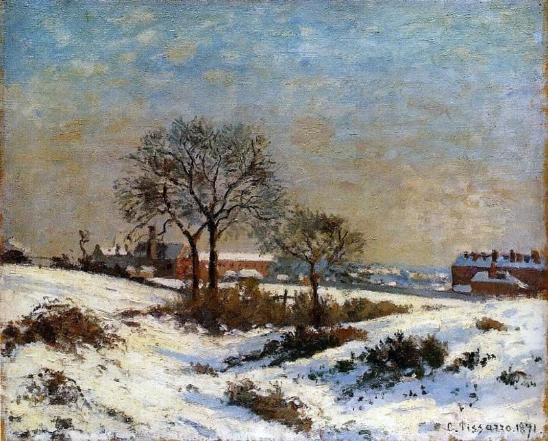 Landscape Under Snow, Upper Norwood by Camille Pissarro – Hand Painted Oil Paint…
