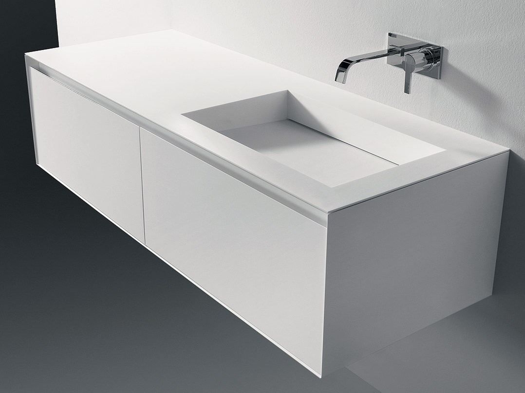 encimera de lavabo doble simple de corian myslot antonio lupi design