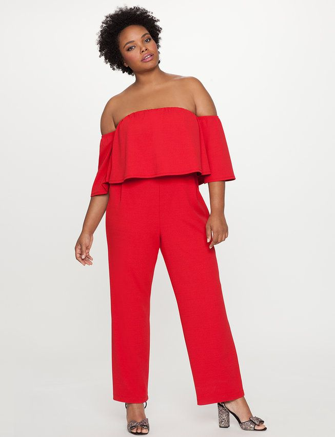 bb6c27a304f Off the Shoulder Ruffle Overlay Jumpsuit from eloquii.com