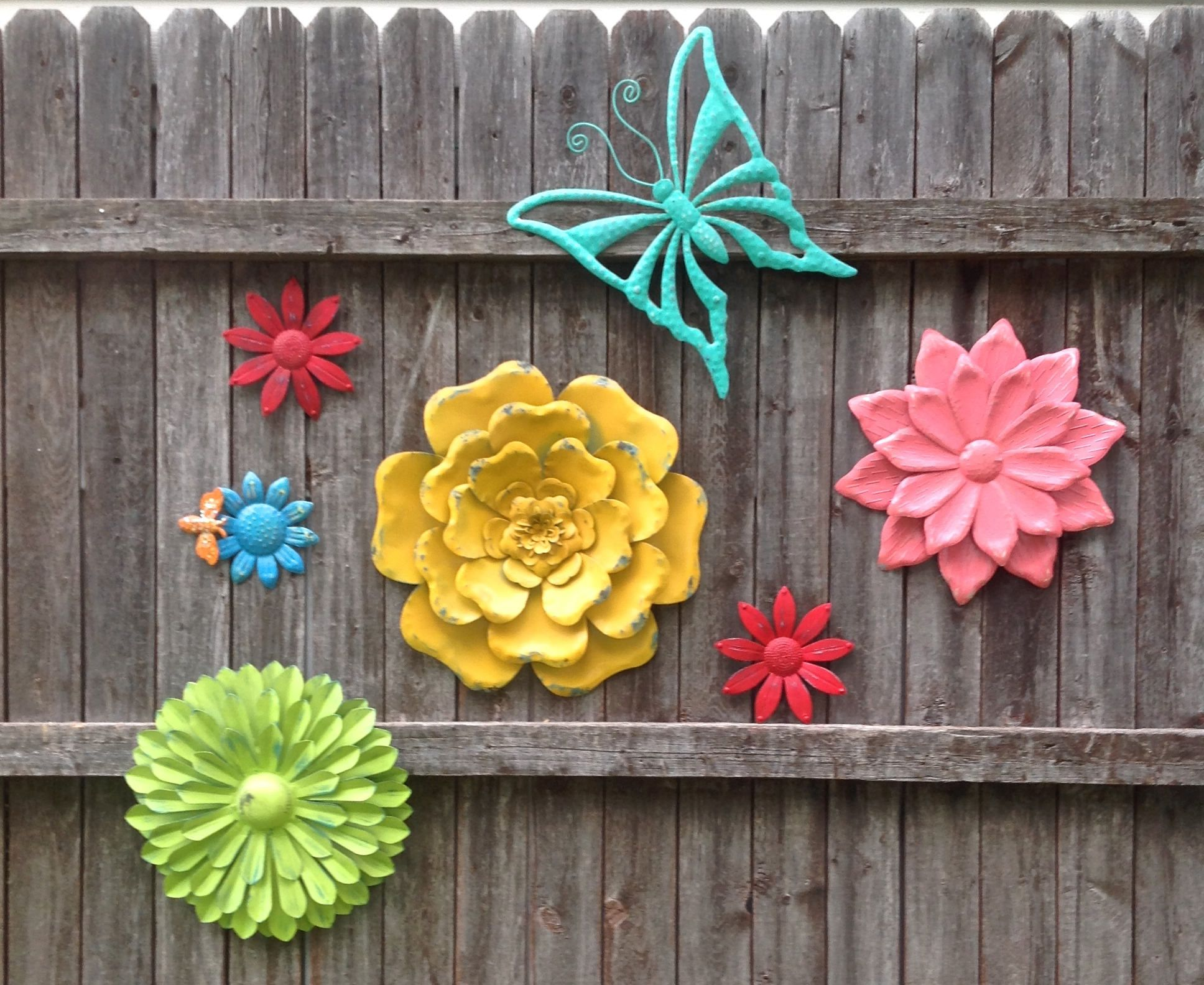 A Rainbow of Color Metal Fence Art Outdoor Metal Flowers