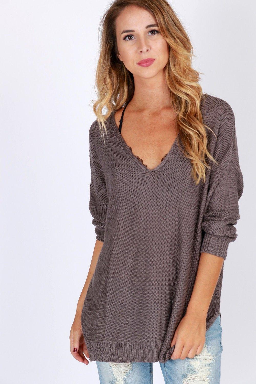 Knit A Chance Tunic Sweater Grey