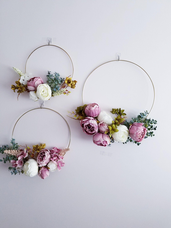 Photo of Modern Hoop Wreaths, Nursery Wall Art, Set of Three Wreaths, Peony Hoop Wreath, Flower Hoops, Wedding Hoop Wreaths