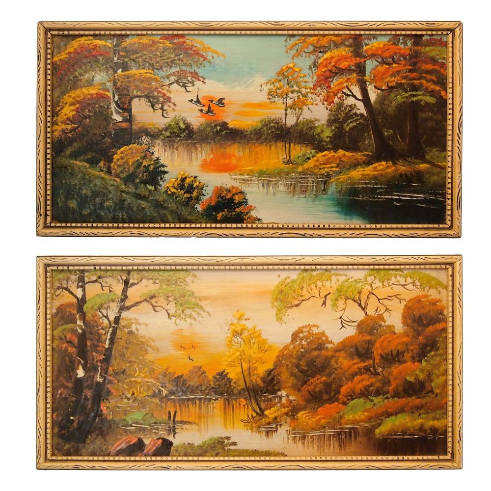 Vintage Florida Highwaymen Style Bayou Oil Painting Pair in Period ...