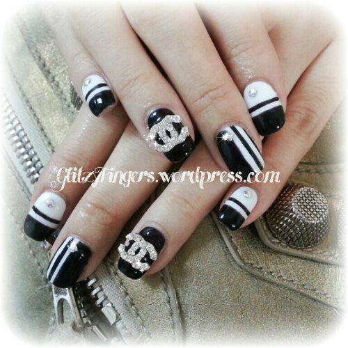 Chanel Nail Designs Glitter Nailart Singapore Nails Sg