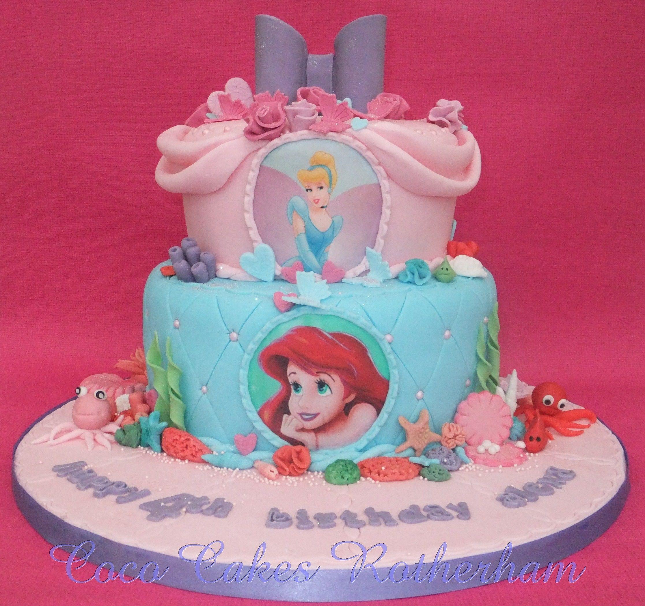 Two tiered Cinderella Ariel cake design Kids parties