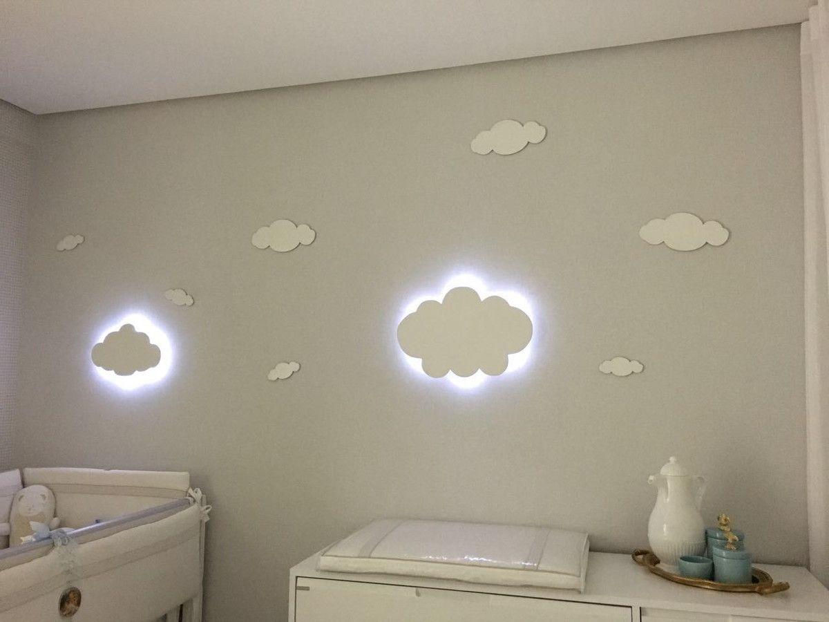 Nuvem Com Luz De Led Luminaria Quarto Bebe Decoracao 40 Cm