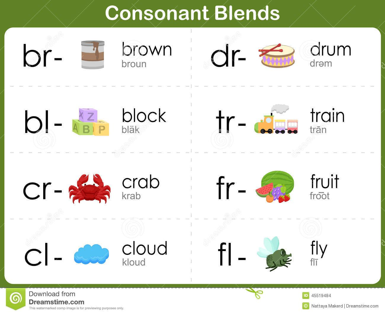 Consonant Blends Worksheet For Kids Stock Vector