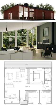 Home Plan Split Master Bedroom; One Half A Bedroom, Other Half Is A Chill  Room. Also Make Living Quarters Bigger. Fireplace To Separate Dining And  Living ...