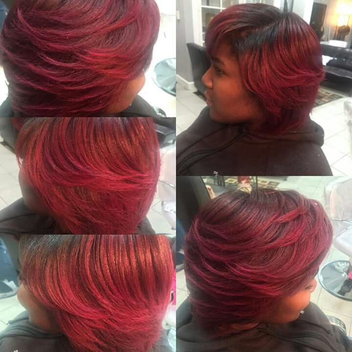 Natural hair with custom color   african american hairstyles for ...
