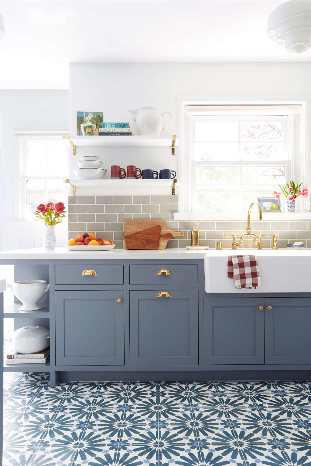 Kitchen with no window  how to style open shelving  kitchen design  pinterest  open