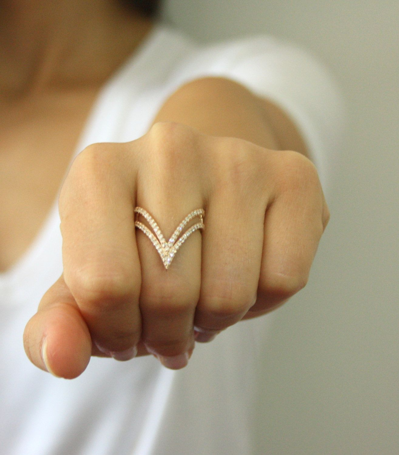 14K Solid Gold Double V Shaped Ring Double V Ring Thin