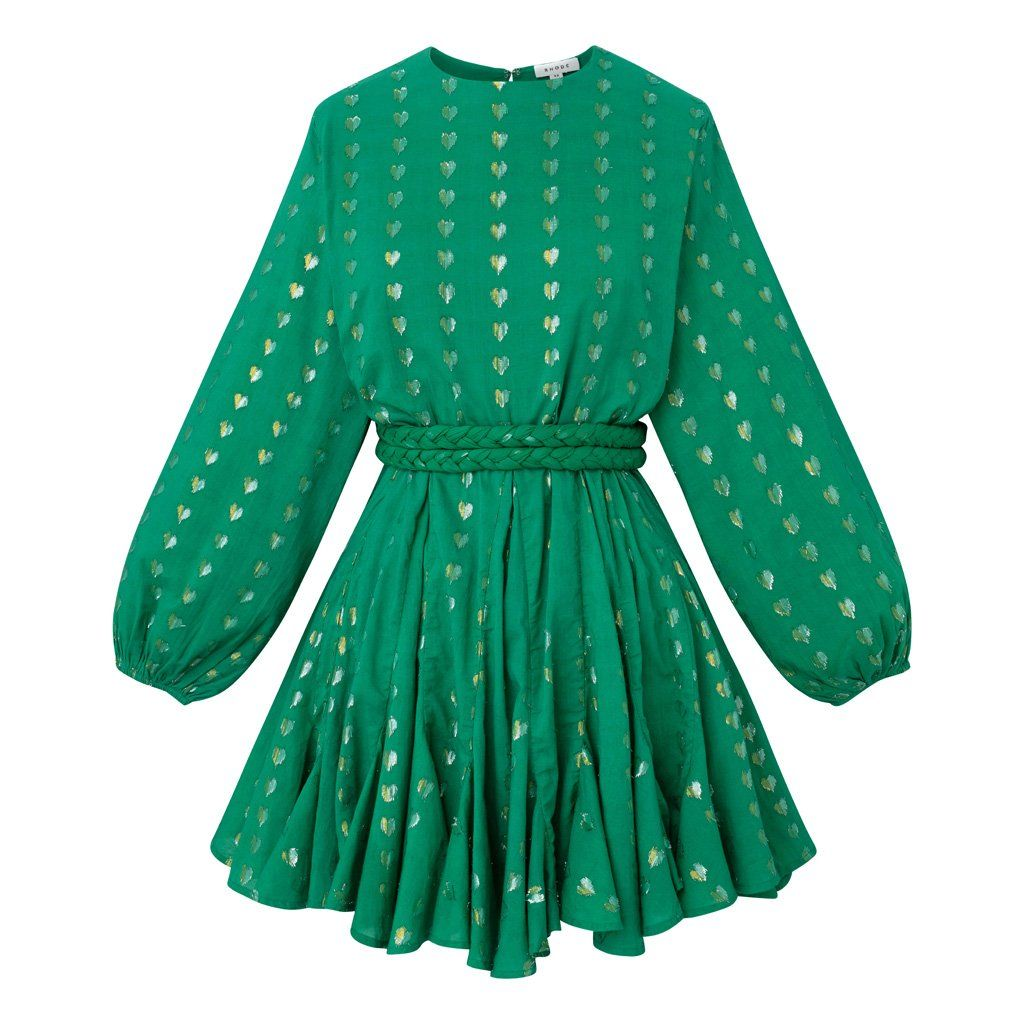 Ella Dress Green Metallic Dresses Green Dress Long Sleeve Dress [ 1024 x 1024 Pixel ]
