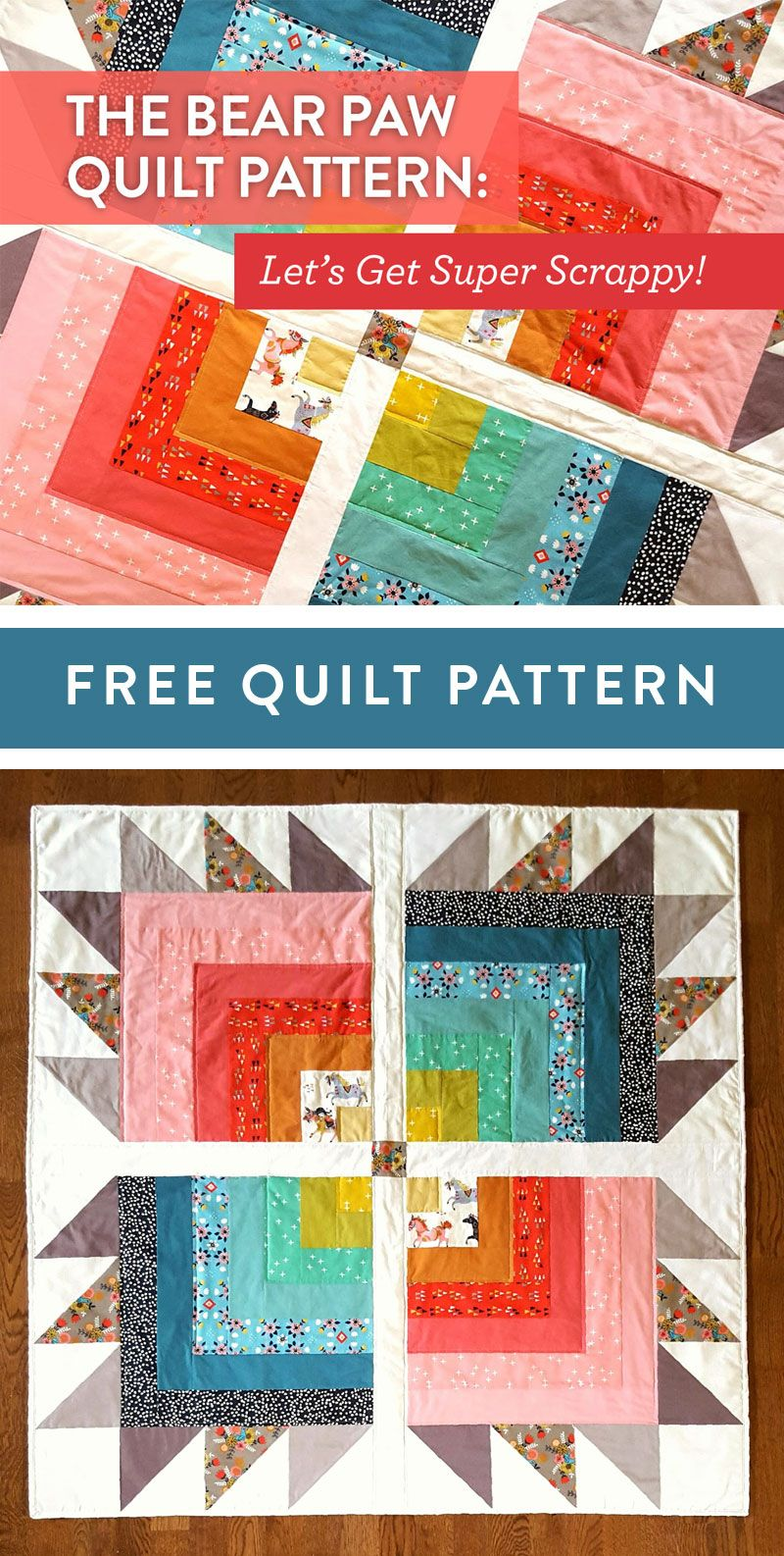 The Bear Paw Quilt Pattern Let S Get Super Scrappy Suzy Quilts Bear Paw Quilt Amish Quilt Patterns Bear Quilts