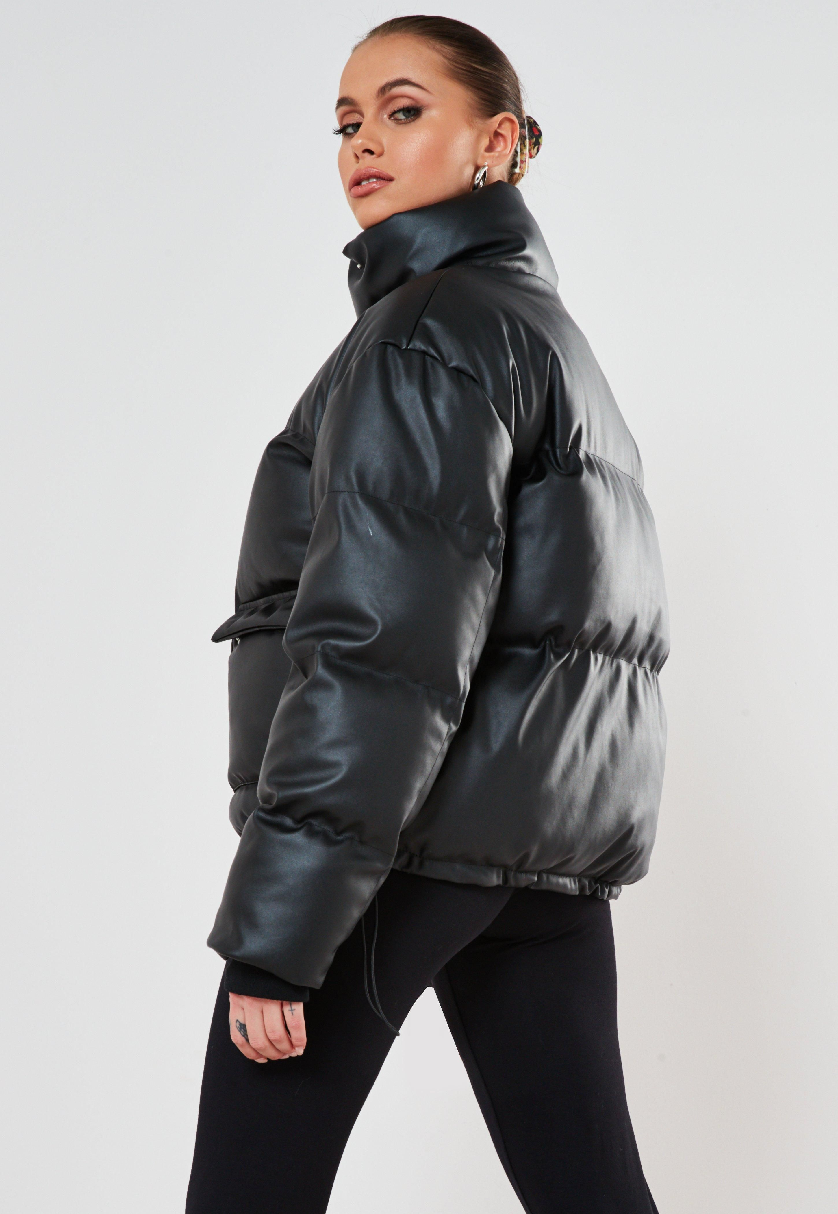 Missguided Black Faux Leather Puffer Jacket Leather Puffer Jacket Jackets Black Faux Leather [ 4200 x 2900 Pixel ]