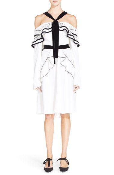 Off-the-shoulder cotton-poplin dress Proenza Schouler X6H4bbP