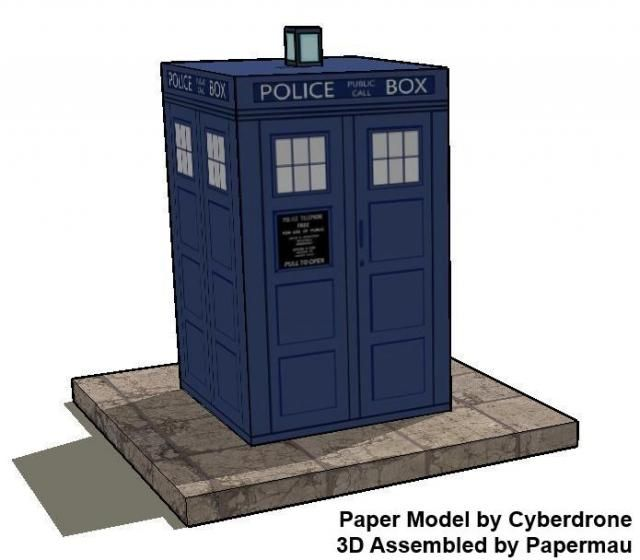 Doctor Who - Classic Tardis Paper Model In Cubeecraft Style - by Cyberdrone - == -  For all fans of Doctor Who, the classic British Sci-Fi tv series, here is a nice and easy-to-build paper model of the iconic Tardis, in Cubeecraft style, created by designer Christopher Beaumont, aka Cyberdrone.