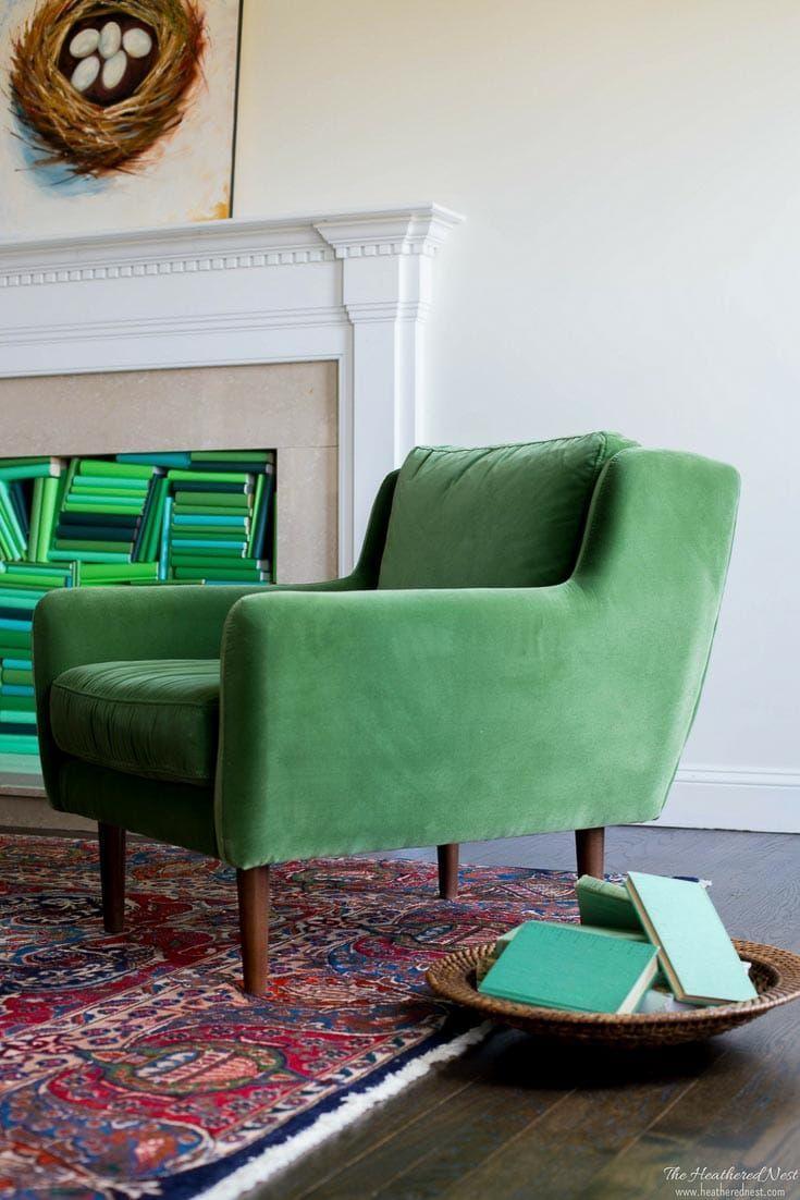 Stunning Article.com Green Velvet Chair U0026 Leather Ottoman | Leather Ottoman,  Green Velvet And Mid Century Modern
