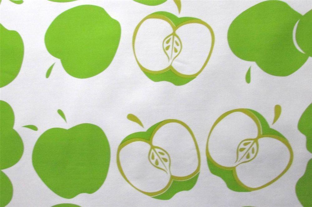 GREEN SOLVANG APPLE FRUIT KITCHEN DINE OILCLOTH VINYL SEW CRAFT DECOR FABRIC BTY
