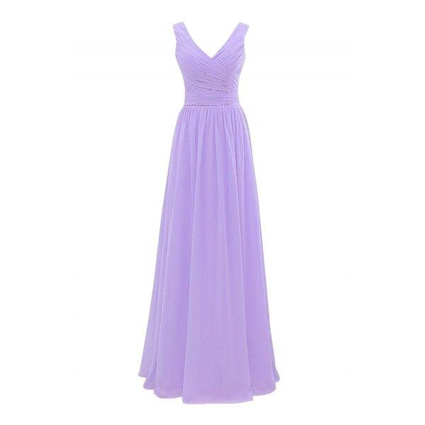 Solid Deep V Ruffled Bridesmaid Prom Dresses ($52) ❤ liked on ...
