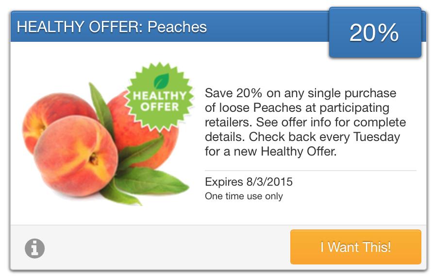 SavingStar Fresh Produce Coupon Save 20 on Peaches