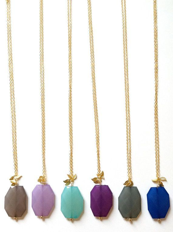 Bright Colored Drop Necklace With Gold Leaf Detail