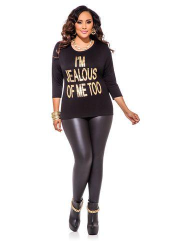 9d2d48d3159 Ashley Stewart Web Exclusive I m Jealous Of Me Too Top   Pleather Leggings