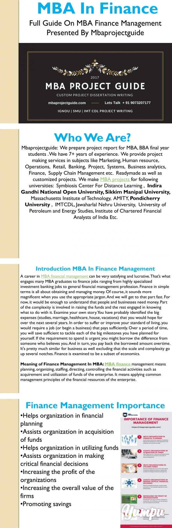 Mbaprojectguide In Finance Magazine With 15 Page Visit U For Help Related To The Final Project Report Mba We Offer S Saving Job Roles Dissertation On