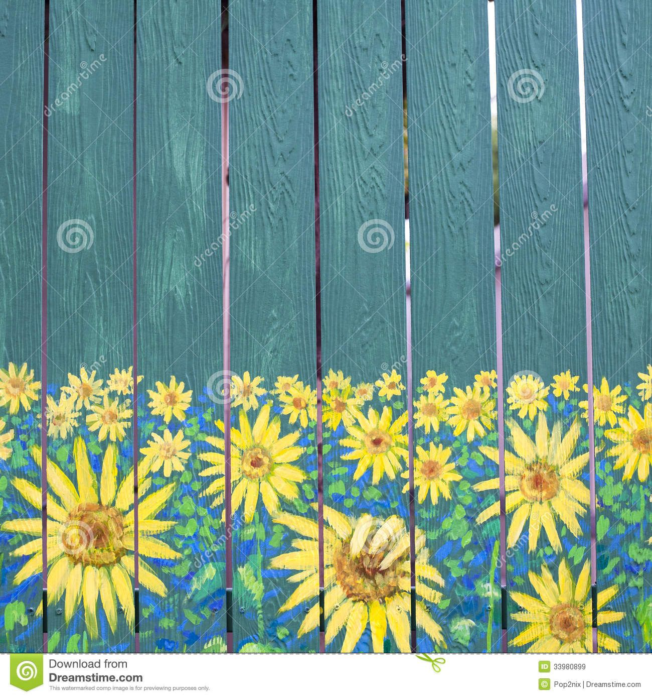 Sunflowers Painting On Fence Wood Download From Over 42
