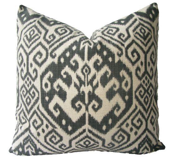 22X22 Pillow Insert Decorative Designer Charcoal Grey Ikat 18X18 20X20 22X22 Pillow