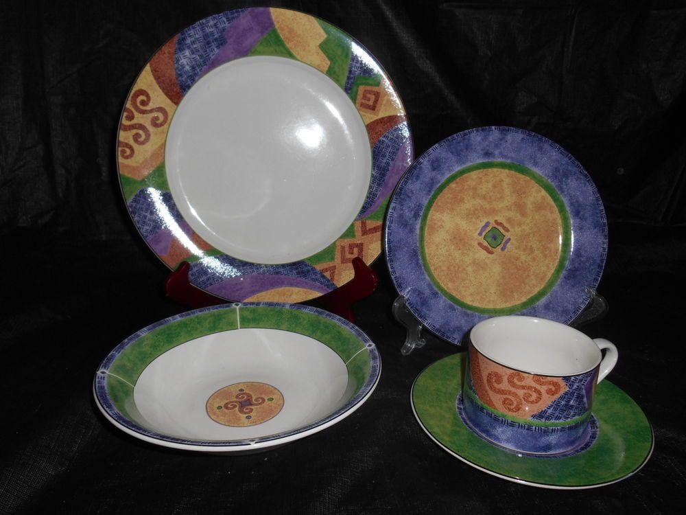 15pc SANGO Karma Dinnerware Plates Bowls Cups Saucers 4895 Sue Zipkin Southwest & 15pc SANGO Karma Dinnerware Plates Bowls Cups Saucers 4895 Sue ...