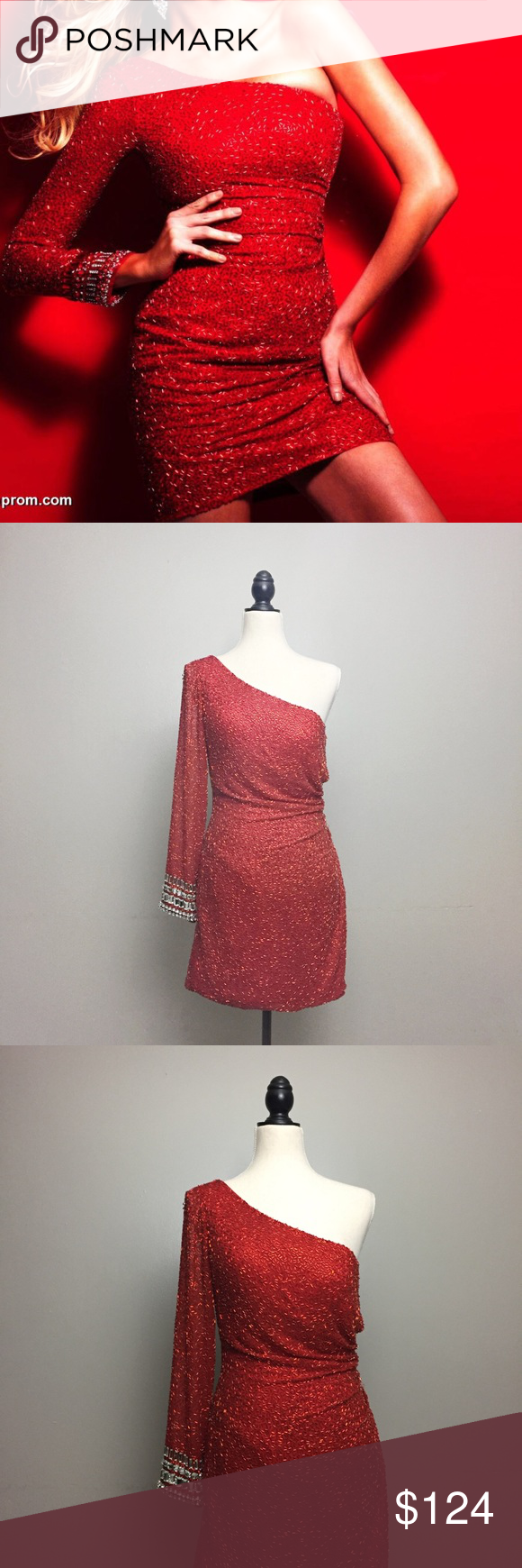 Sherri hill red one shoulder beaded dress sherri hill size