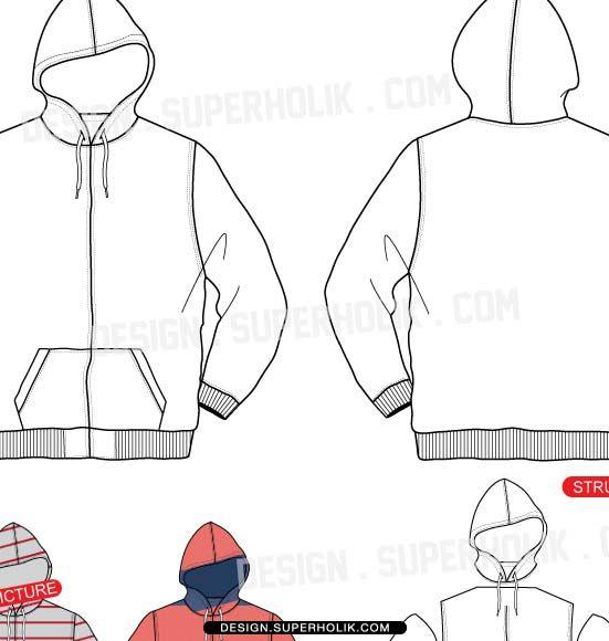 Hoodie vector template ZIP-UP HOODIE zip-up hoodie ... | ILLUSTRATOR ...