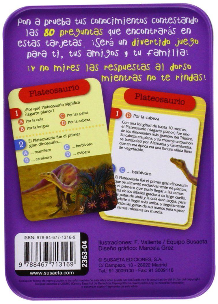 Juego de cartas. Muy recomendado. Los dinosaurios (¿Preguntas y respuestas!): Amazon.es: Equipo Susaeta, Francisca Valiente: Libros