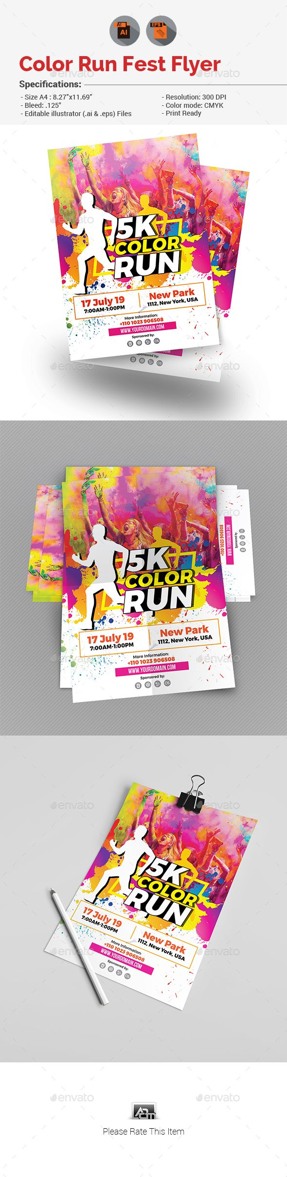 color run flyer by aam360 similar templates informations for this