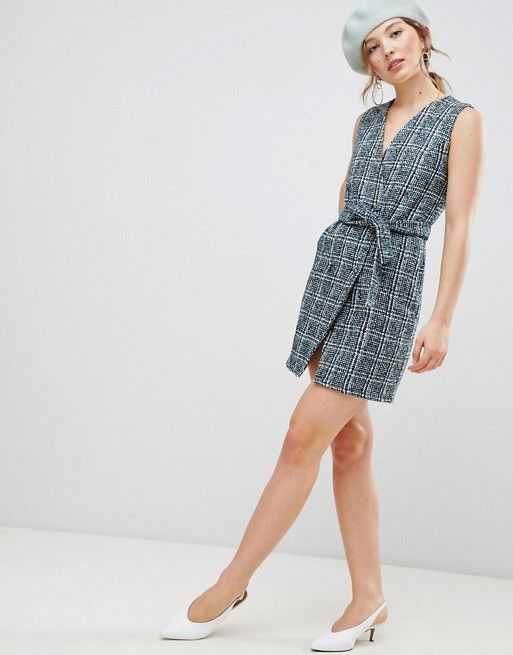 Unique 21 Sleeveless Blazer Dress In Textured Tweed - Blue check Unique21 gigp7wn