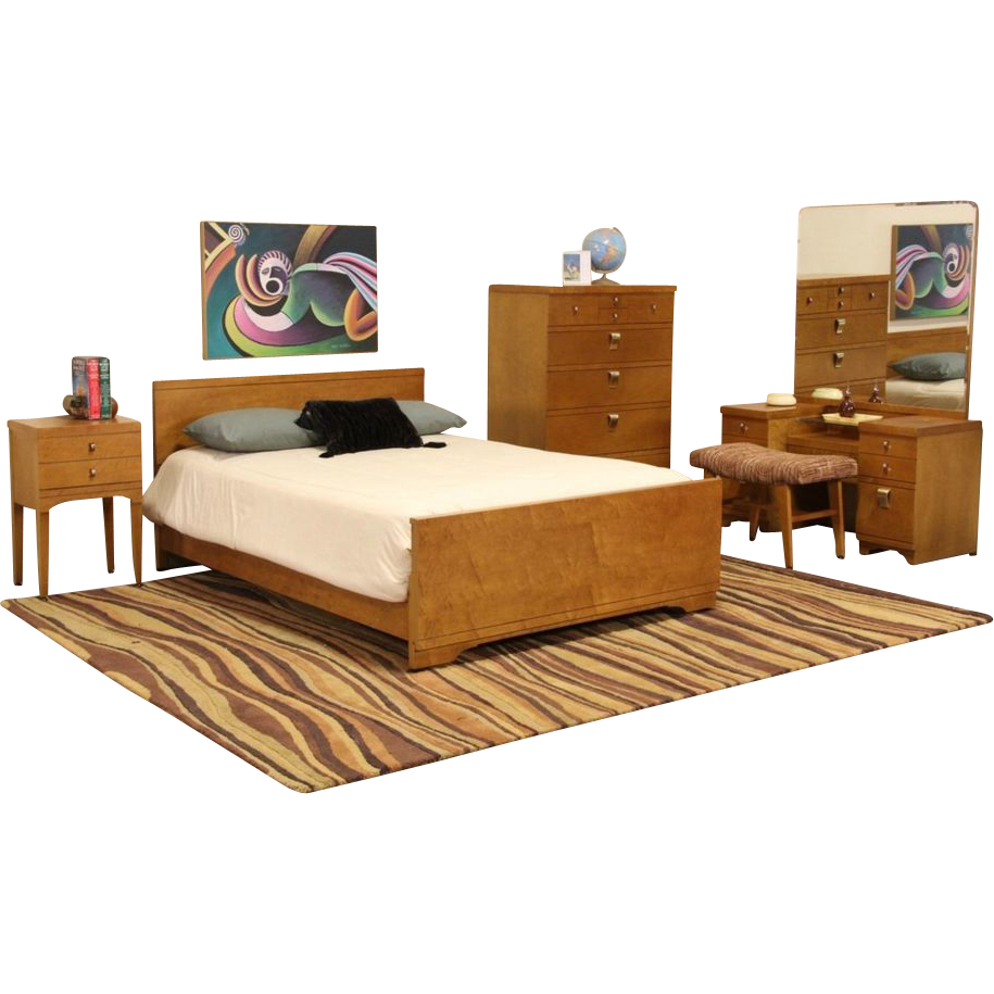 Midcentury modern 5 pc curly birdseye maple bedroom set - Contemporary maple bedroom furniture ...