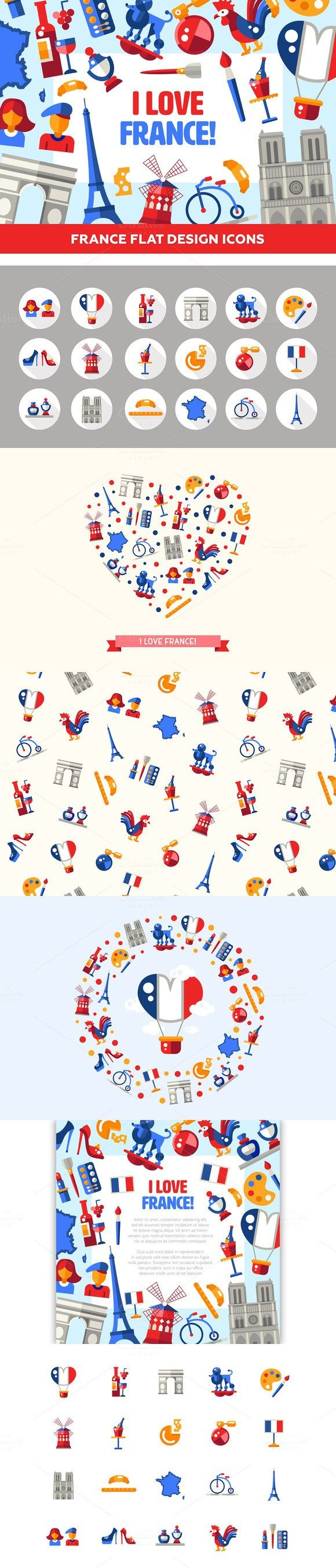 Big Bundle of France Icons & Cards. Travel Infographics
