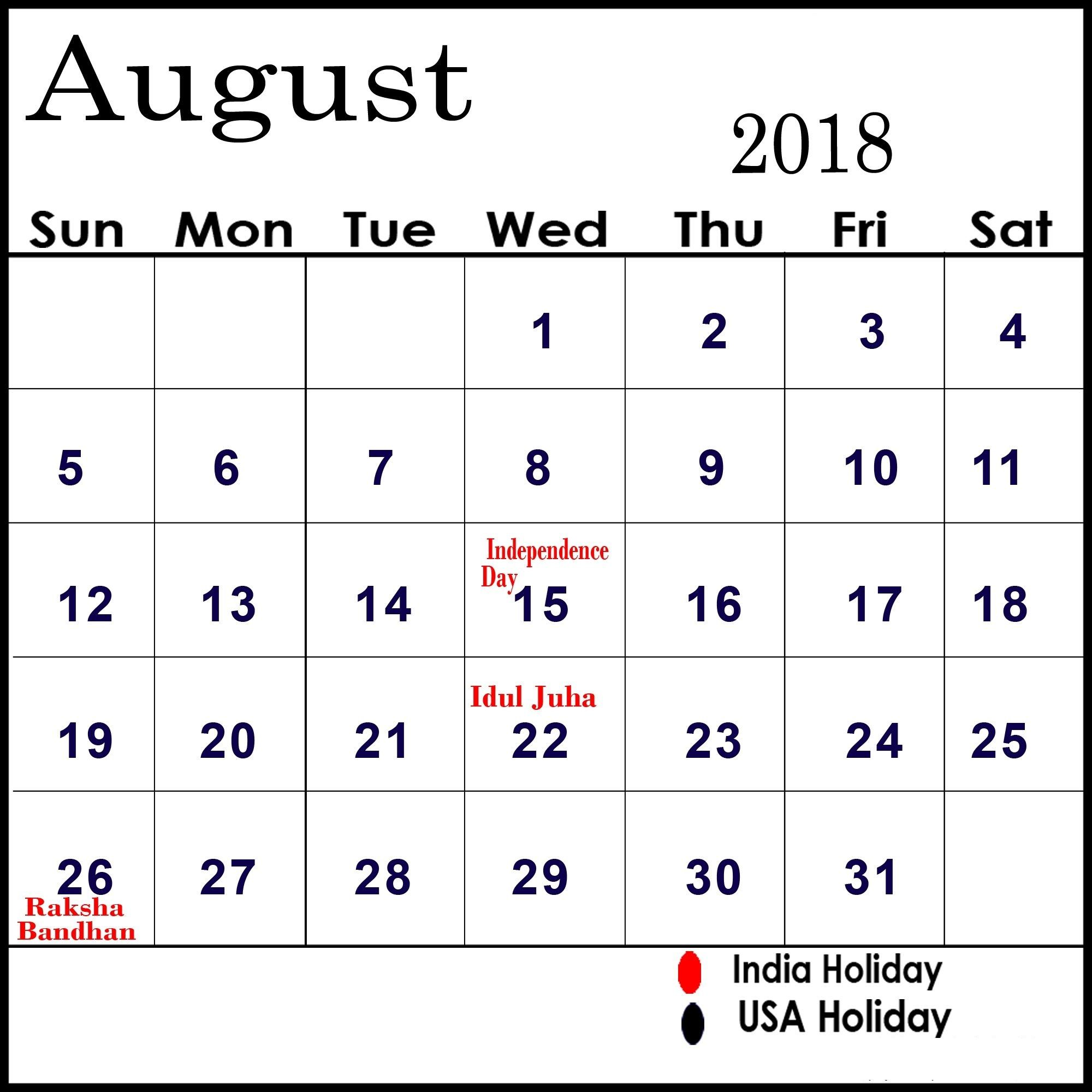 Printable August 2018 Calendar With Holidays Calendar Printables