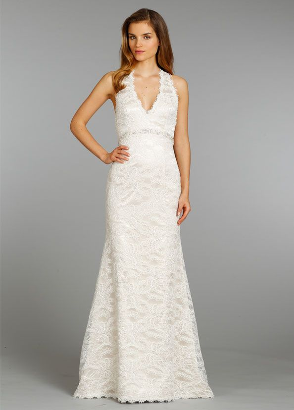 jim-hjelm-bridal-alencon-lace-charmeuse-modified-a-line-bridal-gown ...