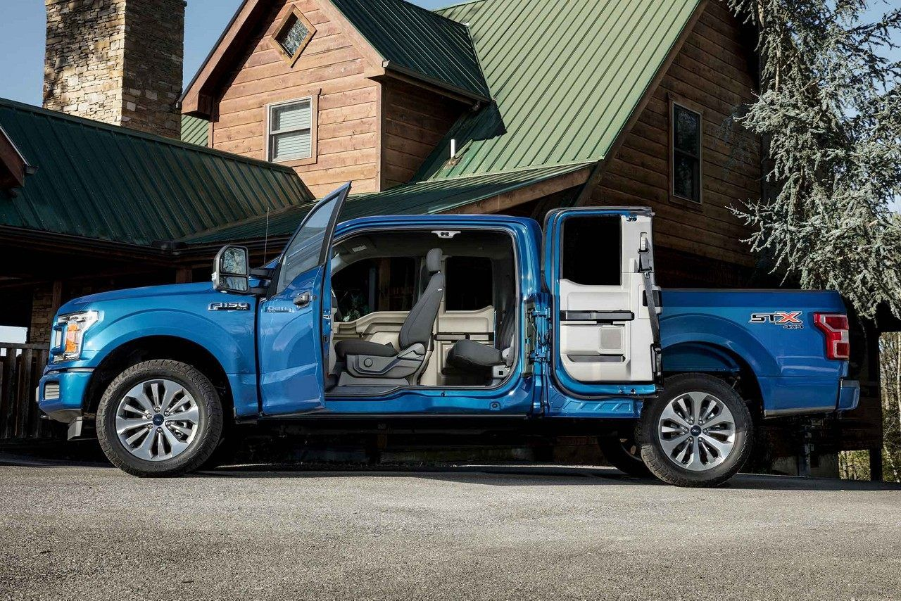 2018 Ford F 150 Stx In Lightning Blue With Swing Out Wide Supercab Side Doors City Vehicles Ford F150 Stx Ford F150