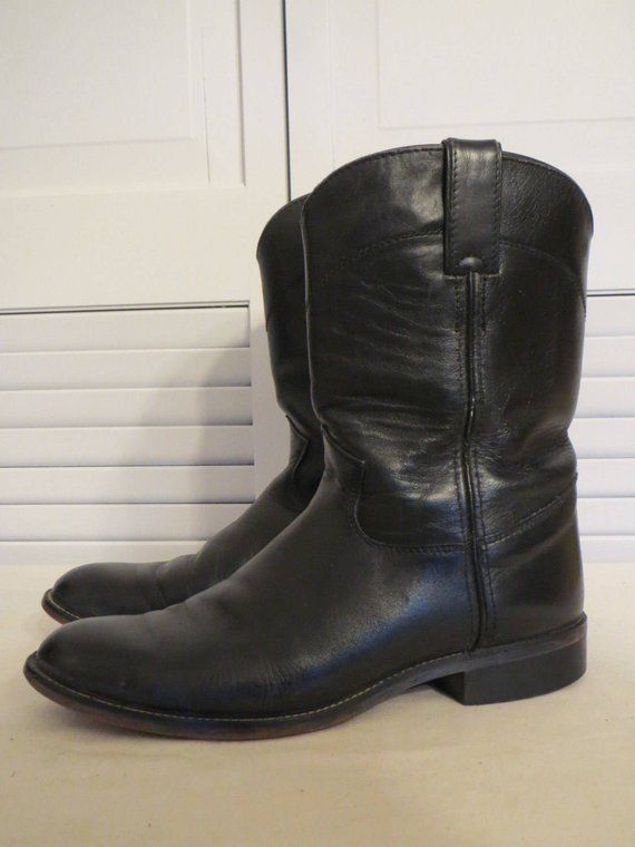 b97d8f0cc7e vintage Black Leather Ropers - Riding Boots by Justin Boots - size 6 ...