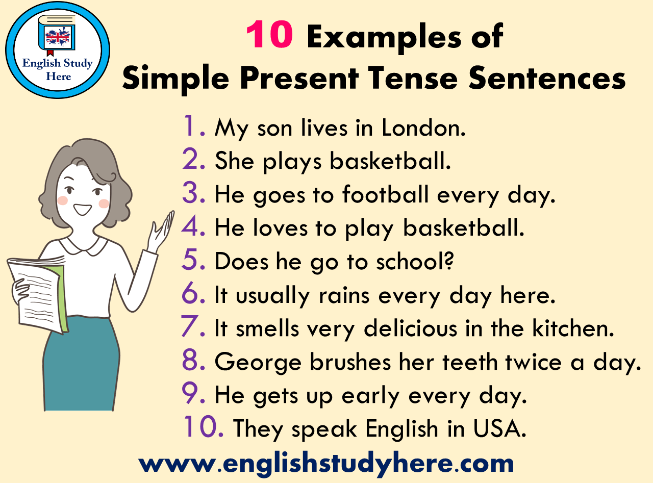 10 Examples Of Simple Present Tense Sentences