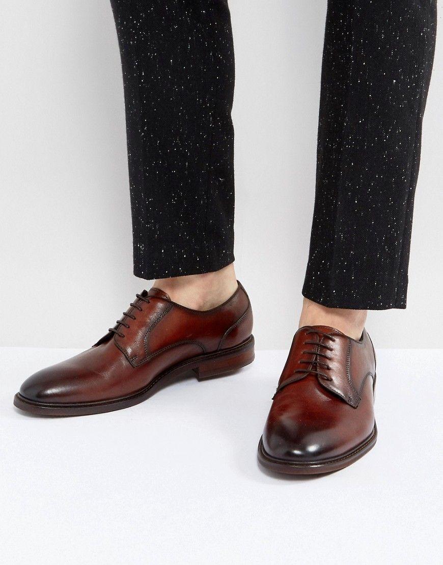 2018 stylish destroyed Steve Madden Henson Leather Derby Shoes mens Brown Steve Madden Mens Shoes
